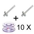 2 X Spoolpins with 10 bobbins